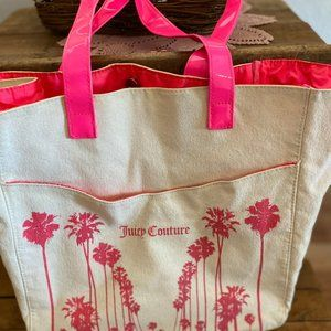 Juicy Couture Neon Pink Canvas Tote Bag